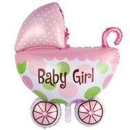 Шар фольгированный фигура коляска детская розовая 1207-3006, фото 1